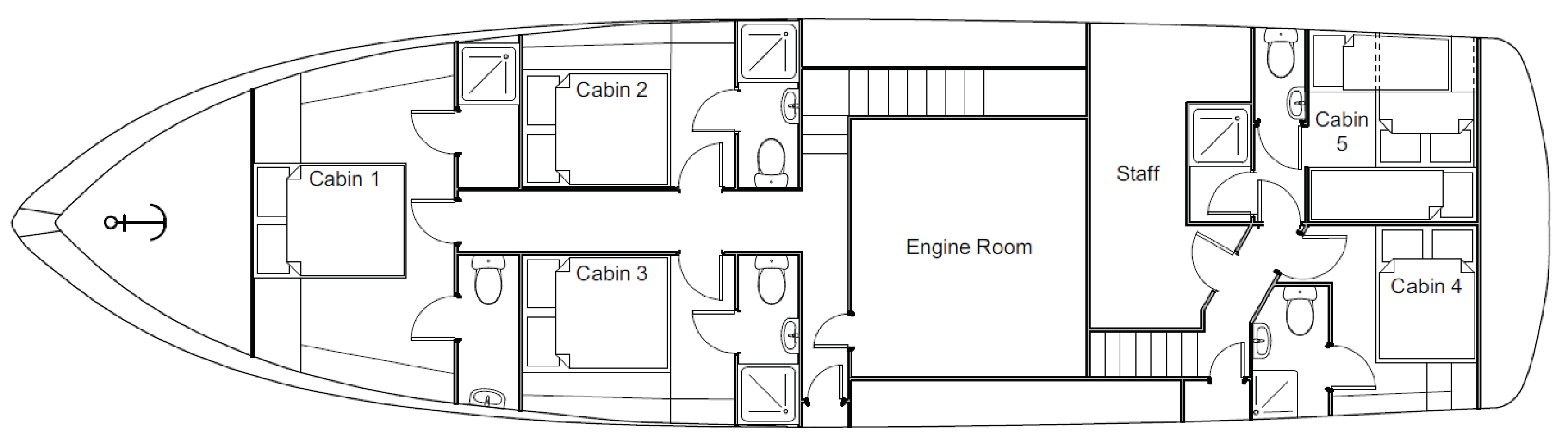 Lower deck floor plan of the MV Southern Secret showing the layout of its five cabins and ensuites.