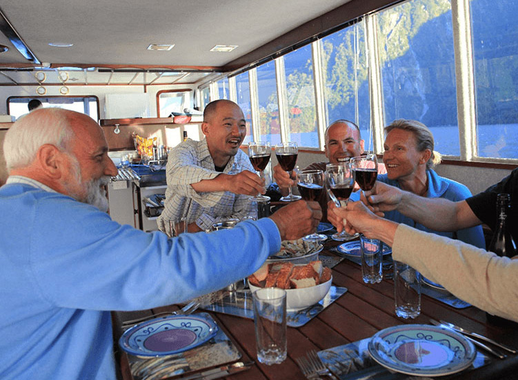Group of guests at the dining table of the Southern Secret enjoying dinner and making a toast together with red wine