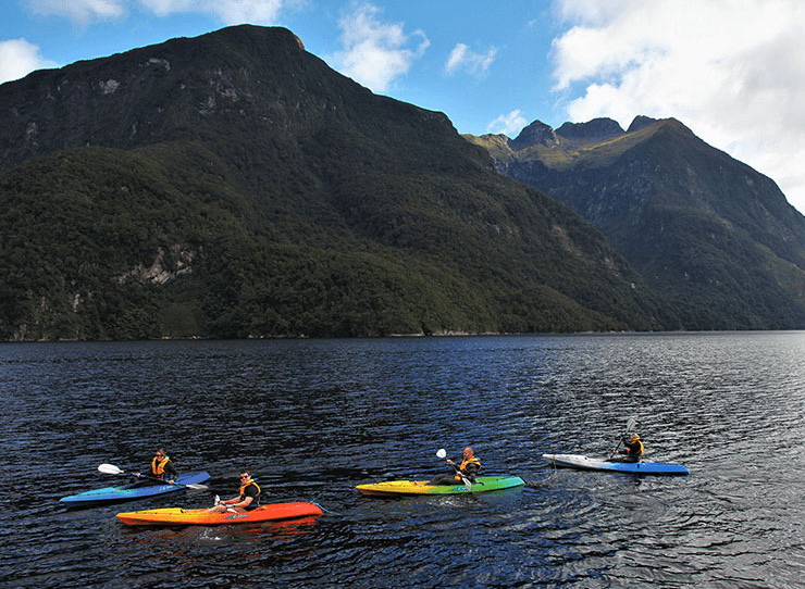 Four kayakers aboard colourful sit-on-top kayaks, kayaking in Doubtful Sound.