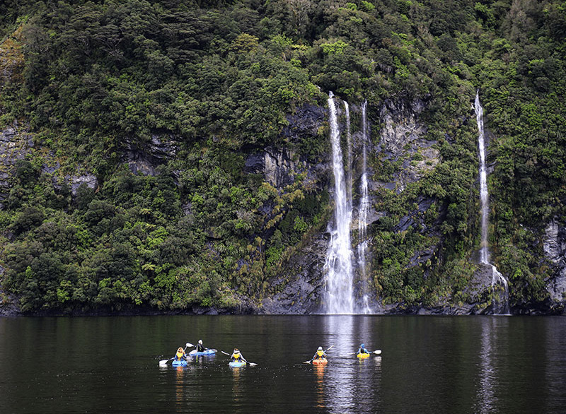 A group of five kayakers on calm waters looking up at waterfalls on Doubtful Sound.