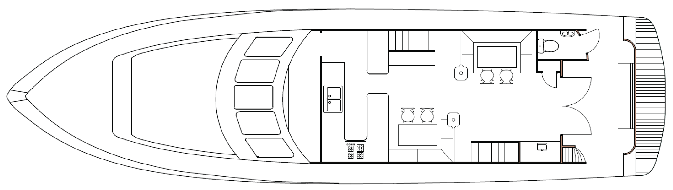 Southern Secret Middle deck floor plan showing kitchen, dining and living areas.