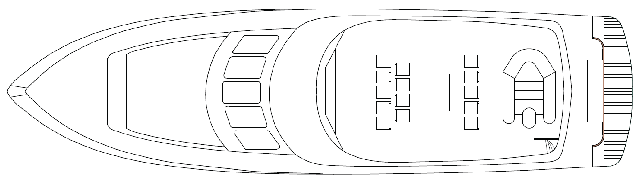 Top Deck floor plan of the MV Southern Secret showing seating and viewing areas.